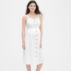 GAP Maternity White Apron Midi Dress Size Large